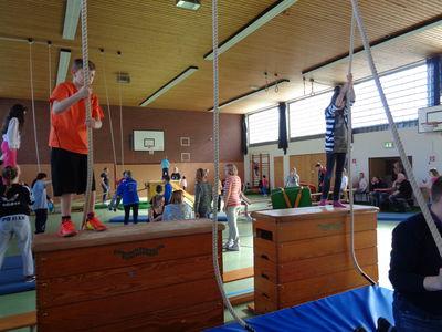 Das Foto zeigt Kinder beim Bewegungspicknick, die sich an Seilen hoch hinaus schwingen wollen.
